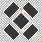 Polaroid- Fotokader met kleverige band op grijze achtergrond Malplaatje, spatie voor uw in foto royalty-vrije illustratie