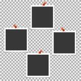 Polaroid- Fotokader met speld op grijze achtergrond Vectormalplaatje, spatie stock illustratie