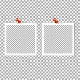 Polaroid- Fotokader met speld op grijze achtergrond Vectormalplaatje, spatie vector illustratie