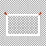 Polaroid- Fotokader met speld op grijze achtergrond Vectormalplaatje, spatie royalty-vrije illustratie