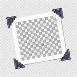 Polaroid, Fotorahmen mit Winkel, Ecke auf Isolathintergrund Schablone, freier Raum für Ihr modisches Foto lizenzfreie abbildung