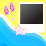 Polaroid frame. On the beach with flip-flop Royalty Free Stock Photo