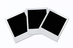 Polaroid frames. Three blank polaroid frames on white background Stock Photography