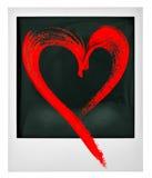 Polaroid instant photo frame red heart. Polaroid instant photo frame with red heart Stock Photos