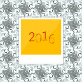 2016 in polaroid instant photo frames on abstract background Royalty Free Stock Photo