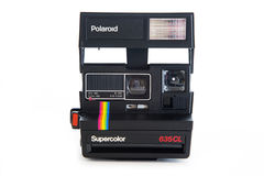 Polaroid instant vintage camera. Polaroid 635CL instant vintage camera. Polaroid company was founded in 1937 in Cambridge, Massachusetts Stock Photos