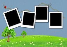 Polaroid- patroon voor fotokaders met achtergrondtextuur vector illustratie