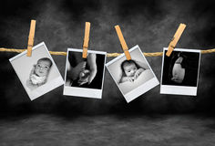 Polaroid Pho della madre e dell'infante Fotografia Stock Libera da Diritti