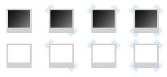 Polaroid Photo Frame. Various models of Polaroid photo frame with blue scotch angular on a white background Stock Images