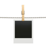 Polaroid photo frame with clothespin isolated on white backgroun Stock Images