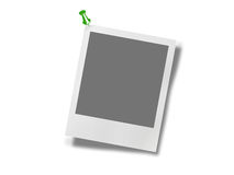 Polaroid photo frame with pin. On white background Royalty Free Stock Images