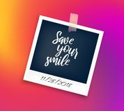 Polaroid photo frame with sticker and lettering vector illustration