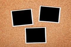 Polaroid photo frames. On cork texture background royalty free stock photos