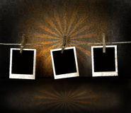 Polaroid photos on antique backdrop Stock Photos
