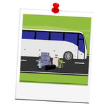 Polaroid picture tourist bus Royalty Free Stock Image