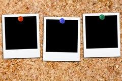 Polaroid- Polaroidcamera's Leeg Cork Board Royalty-vrije Stock Foto's