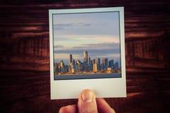 Polaroid postcard photograph of Melbourne skyline from waterfron Royalty Free Stock Photo
