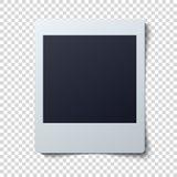 Polaroid- ramvektorillustration Enkelt ögonblickligt foto med svart utrymme för bild vektor illustrationer