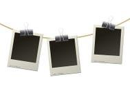Polaroidrahmen auf Seil Lizenzfreies Stockfoto