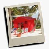 Polaroid slide of beach scene Royalty Free Stock Photo