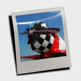 Polaroid slide of retro plane Royalty Free Stock Photo
