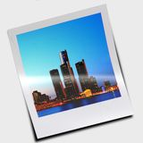 Polaroid slide of skyscrapers Stock Photos