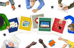 Polaroid sofortige Kamera-Fotografie-PapierWerbekonzeption Lizenzfreies Stockbild