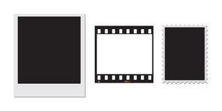 Polaroid stamp and a 35mm film frame. A Polaroid with a black centre and a 35mm film negative frame plus a postage stamp frame. All also supplied in Illustrator Royalty Free Stock Image