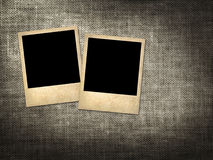 Polaroid-style photo on a linen background Royalty Free Stock Photo
