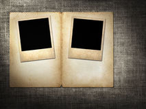 Polaroid-style photo on a linen background Royalty Free Stock Photography