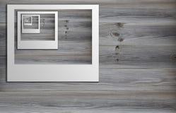 Polaroid sul pavimento di legno Fotografia Stock
