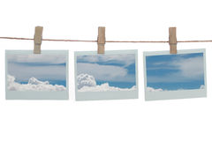 Polaroid templates with blue clouds Stock Images