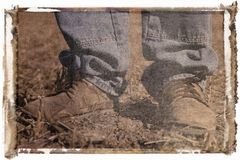 Polaroid transfer of boots Royalty Free Stock Photos