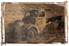 Polaroid transfer of old truck Royalty Free Stock Image