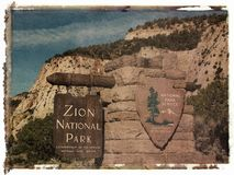 Polaroid transfer of park sign Royalty Free Stock Photo