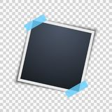 Polaroid on a transparent background. Photo frame. Blue scotch tape. Vector. Illustration stock illustration