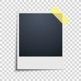 Polaroid on a transparent background. Photo frame. Yellow scotch tape. Vector. Illustration vector illustration