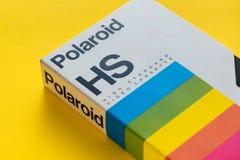 Polaroid VHS video cassette, retro video technology. NOVI SAD, SERBIA - NOVEMBER 6, 2017: Polaroid VHS video cassette. Video Home System, recording tape royalty free stock photo