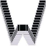 polaroid w för mellanrumsfilmbokstav Arkivfoton