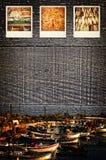 Polaroidbilder, die Fischindustrie darstellen Stockbilder