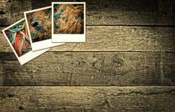 Polaroidbilder, die Fischindustrie darstellen Stockfoto
