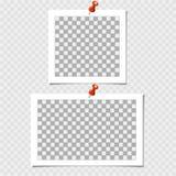 Polaroidcamera, Inzameling van fotokader met speld Vectormalplaatje voor uw in foto of beeld vector illustratie
