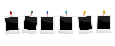 Polaroidcamera's met wasknijper witte achtergronden stock illustratie