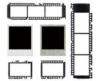 Polaroidfelder und grunge Set des negativen Filmes Stockfotos