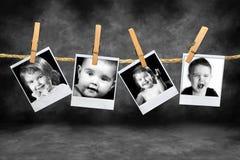 Polaroidfotos von Kleinkinder viele Ausdrücke Lizenzfreies Stockbild