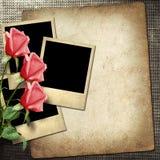 Polaroidkamera-stil foto på en linnebakgrund med röda rosor Royaltyfria Foton