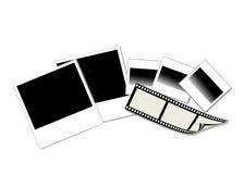 Polaroidkameratryck, fotofilm och glidbanor på vit Royaltyfri Fotografi