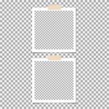 PolaroidPhotokader met kleverige band op grijze achtergrond Malplaatje, spatie voor uw in foto stock illustratie