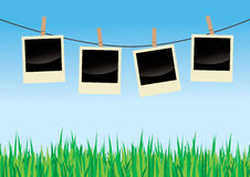 Polaroids On Clothes Line. Vector illustration of empty polaroids hanging on a clothes line against a clear blue sky, with green grass in the foreground Royalty Free Stock Photography