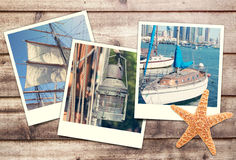 Polaroids with nautical pictures. Collage of polaroid pictures on wooden background Stock Images